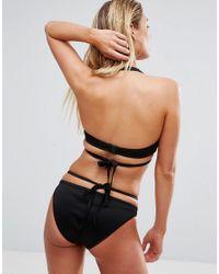 ASOS - Black Fuller Bust Scuba Fishnet Wrap Halter Bikini Top Dd-g - Lyst