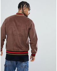 ASOS Cord Bomber Jacket With Tipped Rib In Brown for men