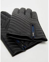 Gants matelassés en cuir avec fermeture éclair ASOS pour homme en coloris Black