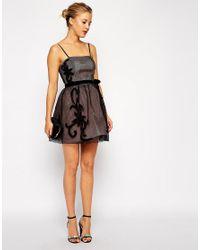 ASOS Black Mesh Applique Prom Dress