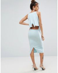 ASOS DESIGN - Blue Crop Top Midi With Strap Back Dress - Lyst