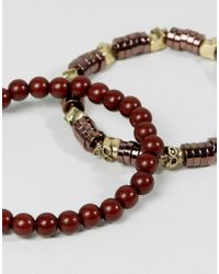 ASOS - Brown Beaded Bracelet Pack With Skull Detail for Men - Lyst