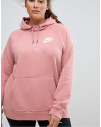Nike Red Plus Rally Pullover Hoodie In Pink