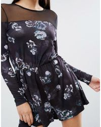 ASOS - Black Winter Floral Print Playsuit With Mesh Detail - Lyst