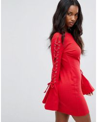 PRETTYLITTLETHING Red Lace Up Sleeve Mini Dress