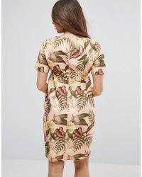 ASOS Multicolor Smart Midi Dress In Tropical Print