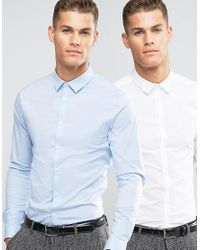 ASOS | Skinny Shirt 2 Pack In White And Blue Save for Men | Lyst