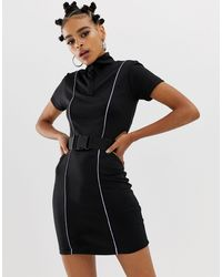 Collusion Black X Motocross Bodycon Dress With Belt