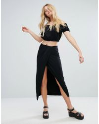 Bershka | Black Wrap Front Midi Skirt | Lyst