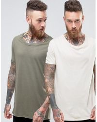 ASOS - Natural 2 Pack Super Longline T-shirt In Green/beige With Stretch Neck Save for Men - Lyst