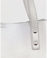 ASOS Metallic – Verstärkte Shopper-Tasche mit abnehmbarem Tablet-Etui