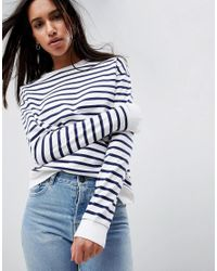 ASOS - Blue Asos Sweat In Stripe - Lyst