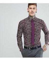 Heart & Dagger White Skinny Floral Shirt for men