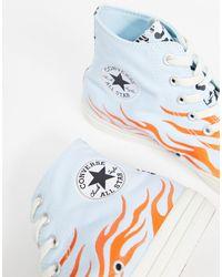Высокие Кеды С Леопардовым Принтом И Пламенем Chuck Taylor All Star Archival-мульти Converse для него, цвет: Blue