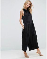 ASOS Black Luxe Roll Neck Jumpsuit In Satin