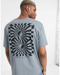 T-shirt comoda con intaglio sullo scollo e stampa astratta con Yin e Yang sul retro di ASOS in Gray da Uomo