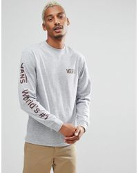 Vans Gray World No1 Long Sleeve T-shirt With Arm Print In Grey V00wdtath for men