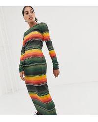 Sunset - Vestito a fascia a maniche lunghe in jersey a righe di House of Holland in Multicolor