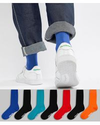 ASOS Multicolor Socks In Retro Sport Colours With Branded Soles 7 Pack for men