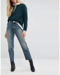 FLORENCE - Jeans dritti autentici in denim riciclato verde patinato Melrose con bordi grezzi di ASOS in Blue