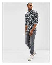 Camicia di lino a maniche lunghe con stampa a fiori di Ted Baker in Black da Uomo