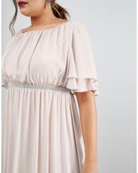 ASOS Gray Flutter Sleeve Maxi Dress With Embellished Waist Trim