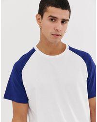 Originals - T-shirt long à manches raglan et ourlet arrondi - /bleu Jack & Jones pour homme en coloris White