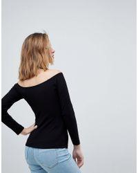 ASOS DESIGN Petite - Top à épaules dénudées style Bardot en côtes ASOS en coloris Black