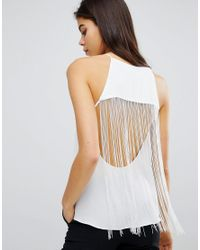 ASOS - White Design Top With Fringe Back Detail - Lyst