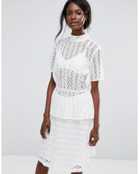 Top en broderie anglaise SELECTED en coloris White