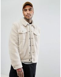 ASOS - Natural Asos Borg Western Jacket In Ecru for Men - Lyst