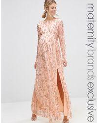 54e4a1fbb5 Lyst - Maya Maternity Long Sheer Sleeve Embellished Maxi Dress in Pink