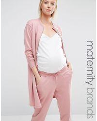 Bluebelle Maternity | Pink Longline Bomber | Lyst