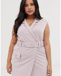 ASOS DESIGN Curve - Robe courte fonctionnelle style smoking avec ceinture ASOS en coloris Purple
