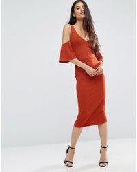 ASOS | Red Crepe Cold Shoulder Fluted Sleeve Midi Dress | Lyst