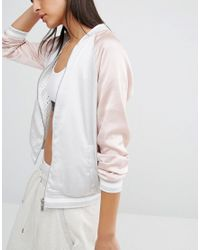 New Look - Pink Reversible Mesh Satin Bomber - Lyst