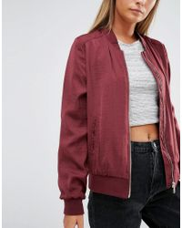New Look - Red Sateen Bomber - Lyst