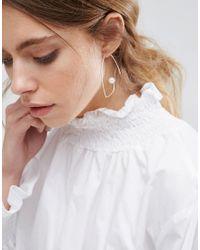 ASOS - Metallic Open Wire Pearl Through Earrings - Lyst