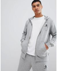 Hoodie à fermeture éclair avec petit logo - Gris 10008813-A03 Converse pour homme en coloris Gray