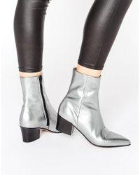 ASOS Metallic Retsella Leather Ankle Boots