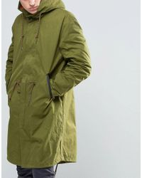 Pretty Green - Parka With Contrast Removable Liner In Green for Men - Lyst