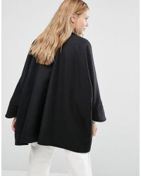 Cooper & Stollbrand Oversize Double Breasted Short Coat In Black