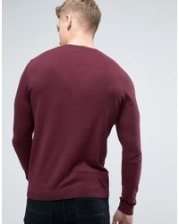 ASOS | Blue 2 Pack Cotton Jumper In Burgundy/navy Save for Men | Lyst
