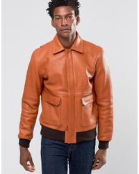 WOOD WOOD Brown Dean Leather Bomber Contrast Cuff And Waist for men