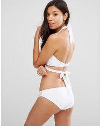 ASOS - White Choker Mesh Strap Crop Bikini Top - Lyst