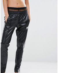 Adidas Originals Black Originals Three Stripe Wet Look Sweat Pants