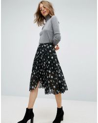 ASOS | Black Pleated Midi Skirt With Wrap Front Detail In Floral Print | Lyst