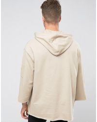 ASOS Natural Longline Oversized Sweatshirt With Ma1 Pocket & 3/4 Sleeve for men