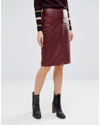Whistles Red Leather Pencil Skirt