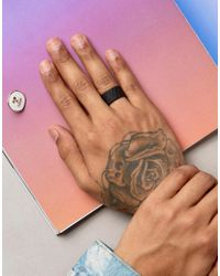 ASOS - Matte Black Ring With Emboss for Men - Lyst